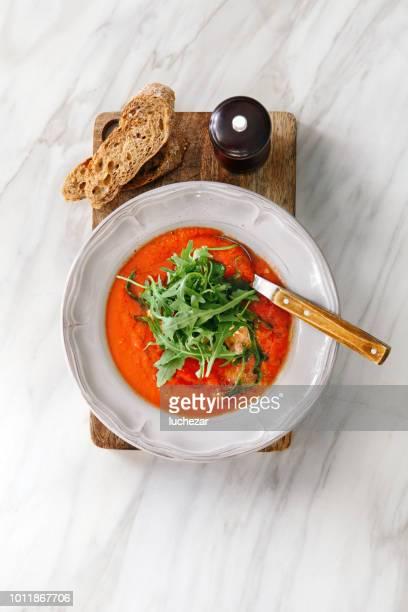 tomato soup with stracciatella - tomato soup stock photos and pictures