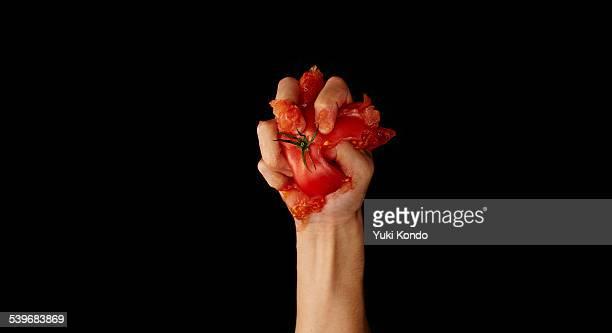 tomato that has been crushed. - crush foto e immagini stock
