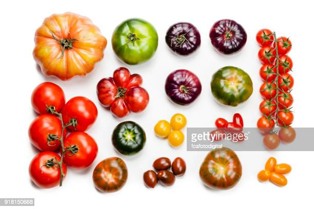 Tomato varieties isolated on white background