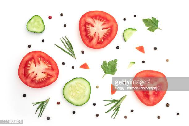 tomato with cucumber and rosemary flat lay slices - slice stock pictures, royalty-free photos & images