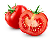 Tomato with slice isolated. With clipping path.