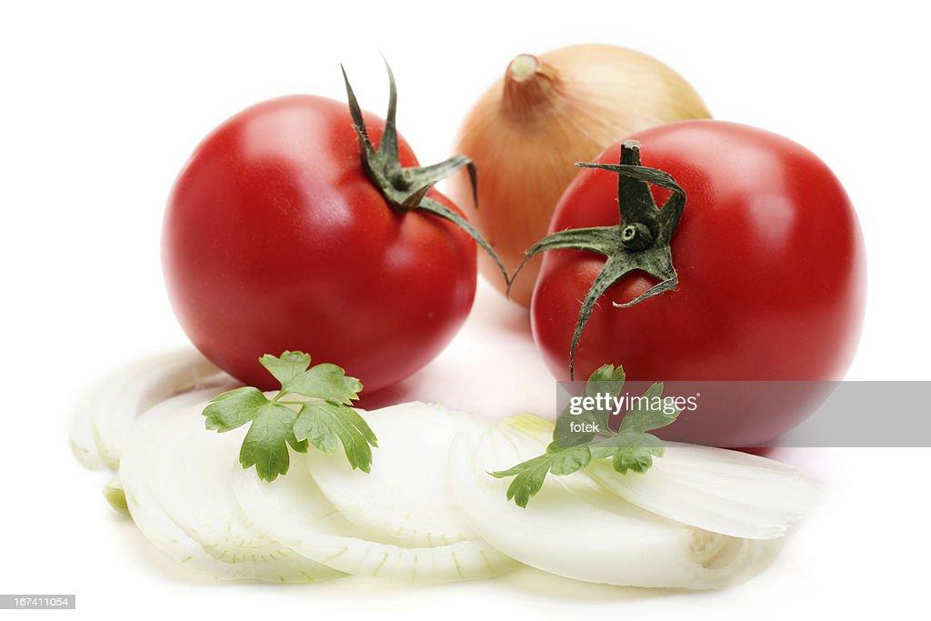 Pomodori e cipolle : Foto stock