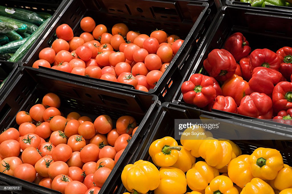 Tomatoes and peppers : Stock Photo