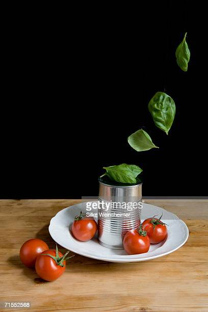Tomatoes and tin can resting on plate with fresh basil leaves floating above