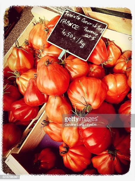 tomatoes in shop for sale - lorgues stock photos and pictures