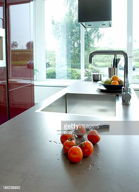 tomatoes on kitchen counter top
