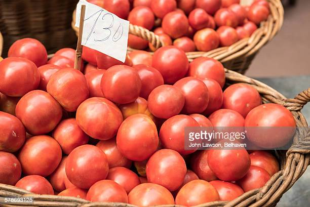 Tomatoes on sale at a market