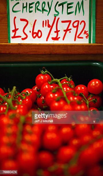 Tomatos are displayed in a Glasgow fruit and vegetable shop September 11 2007 in Glasgow Scotland The European Union is set to abandon plans to force...