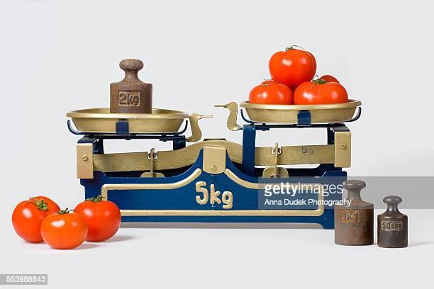 Tomatos on a vintage scale