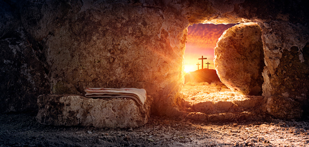 Tomb Empty With Shroud And Crucifixion At Sunrise - Resurrection Of Jesus Christ 1209082574