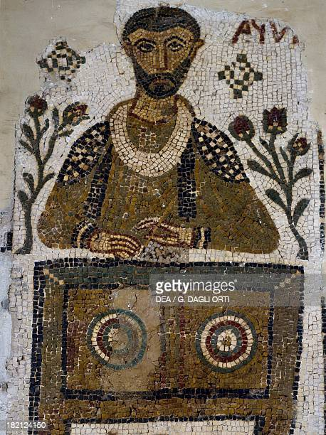 Tomb mosaic depicting a scribe, from Tabarka, Tunisia. Early Christian period, 4th-5th century. Tunis, Musée National Du Bardo