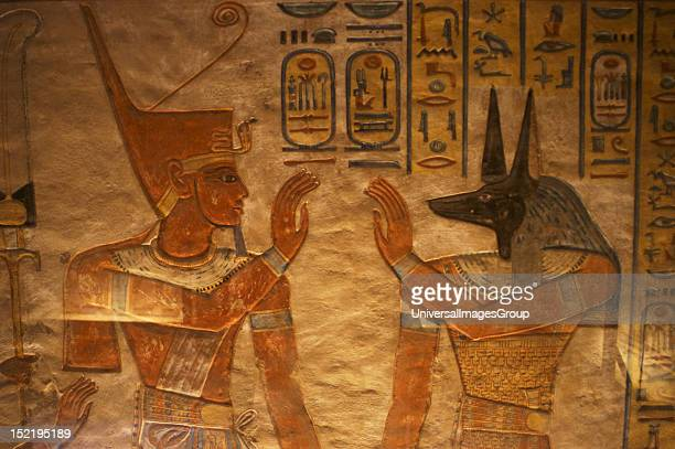 Tomb of Amen Khopshef son of Ramses III Polychrome reliefs decorating the walls of the burial chamber God Anubis on the right Twentieth dynasty New...