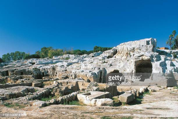 Tomb of Archimedes, Neapolis Archaeological Park, Syracuse , Sicily, Italy, Roman civilization, 1st century BC - 1st century AD.