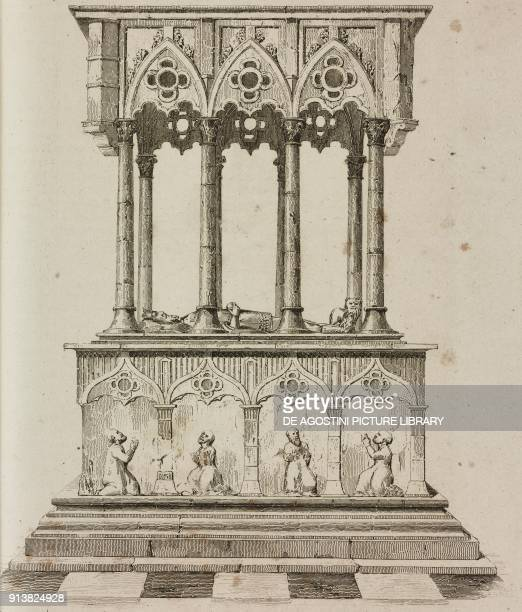 Tomb of Casimir the Great Wawel Cathedral Krakow Poland engraving by Lemaitre and Vormser from Pologne by Charles Foster L'Univers pittoresque Europe...