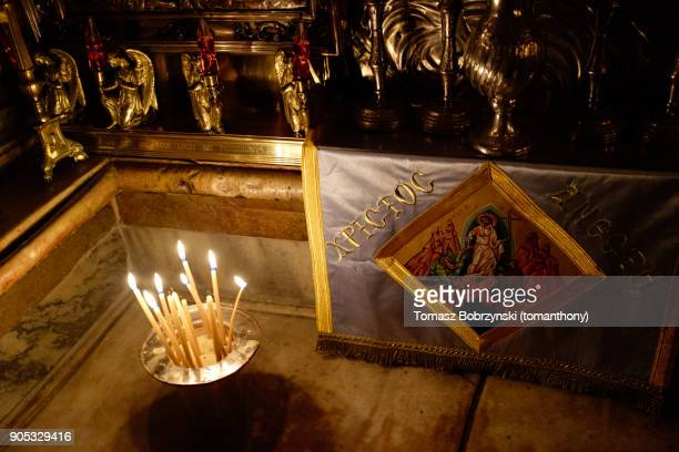 tomb of christ - greek orthodox easter stock pictures, royalty-free photos & images