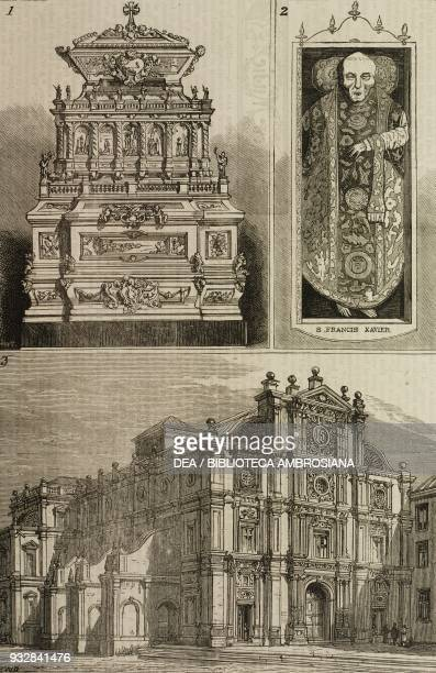 1 Tomb of Francis Xavier 2 the body of Francis Xavier 3 the Convent of Bom Jesus exposition of the body of St Francis Xavier at Goa India...