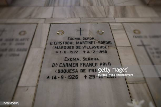 Tomb of Francisco Franco's daughter Carmen Franco at the crypt of La Almudena cathedral on October 3 2018 in Madrid Spain