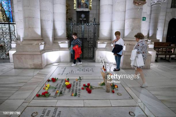 Tomb of Francisco Franco's daughter Carmen Franco at the crypt of the Almudena cathedral on October 3 2018 in Madrid Spain Place where the family...