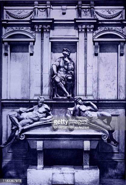 Tomb of Giuliano de Medici by Michelangelo. Michelangelo di Lodovico Buonarroti Simoni an Italian sculptor, painter, architect and poet of the High...