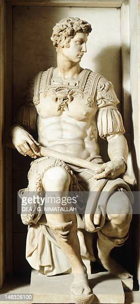 Tomb of Giuliano de' Medici by Michelangelo New Sacristy in the Medici Chapels of the Basilica of San Lorenzo in Florence Tuscany Detail