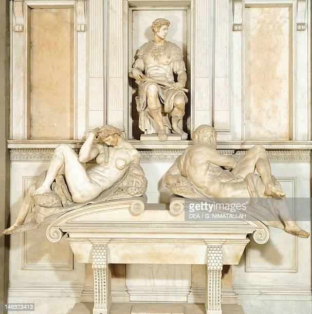 Tomb of Giuliano de' Medici Duke of Nemours 15251534 by Michelangelo marble sculpture New Sacristy in the Medici Chapels of the Basilica of San...