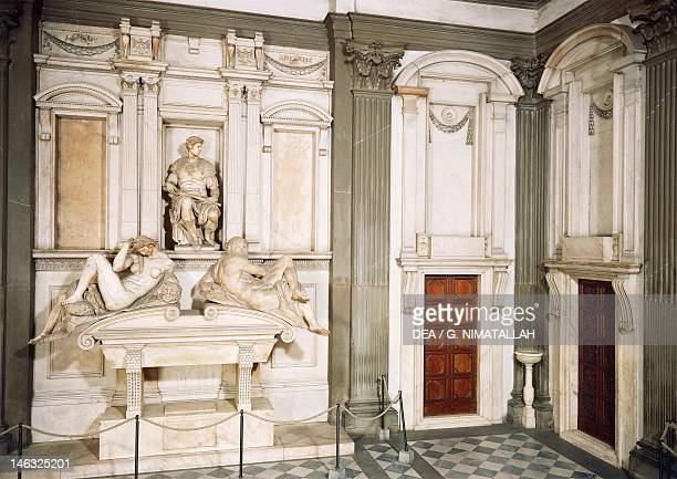 Tomb of Giuliano de' Medici Duke of Nemours 15251534 by Michelangelo marble sculpture Medici Chapel of the Church of San Lorenzo in Florence Tuscany
