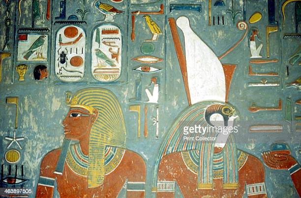 Tomb of Horemheb last king of 18th dynasty Ancient Egyptian c1292 BC Horemheb ruled from 13191292 BC This wall painting shows him and the...