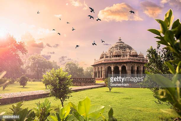 tomb of isa khan at humayun's tomb, delhi, india- cngltrv1109 - ancient stock pictures, royalty-free photos & images