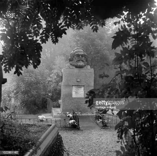 Tomb of Karl Marx Highgate Cemetery Hampstead London 1954 A view towards the tomb of the German political philospher who died in London in 1883 He...