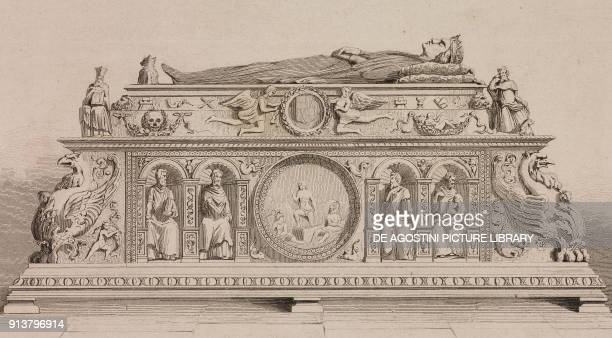 Tomb of King Ferdinand II of Aragon and Queen Isabella of Castile Spain engraving by Lemaitre from Espagne by Joseph Lavallee and Adolphe Gueroult...