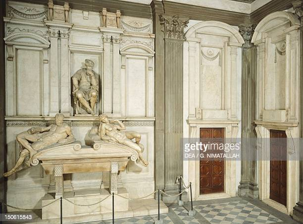 Tomb of Lorenzo de' Medici, 1524-1534, by Michelangelo , marble sculpture. New Sacristy in the Medici Chapels of the Basilica of San Lorenzo in...