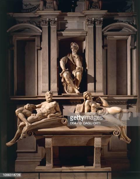 Tomb of Lorenzo de' Medici, Duke of Urbino, 1524-1534, sculptural and architectural marble complex by Michelangelo Buonarroti , Sagrestia Nuova,...