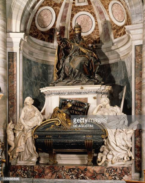 Tomb of Pope Urban VIII bronze gilt bronze and marble monument by Gian Lorenzo Bernini St Peter's Basilica Vatican City