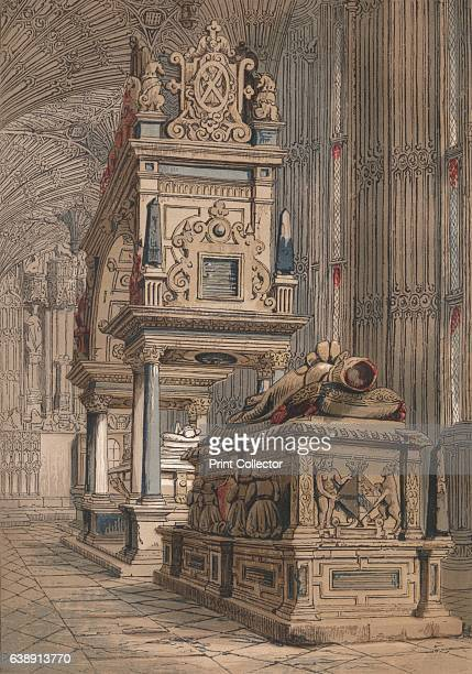 Tomb of Queen Elizabeth', 1845. Tomb of Queen Elizabeth I, Queen of England in Westminster Abbey. From Old England: A Pictorial Museum of Regal,...
