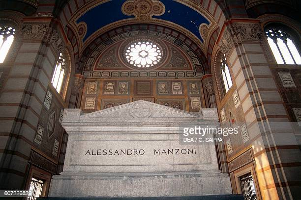 Tomb of the Italian writer Alessandro Manzoni Famedio in Monumental Cemetery Milan Lombardy Italy