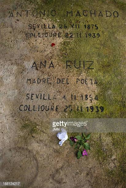 Tomb of the Spanish poet Antonio Machado and his mother Ana Ruiz in the cemetery of Collioure LanguedocRousillon France June 2007