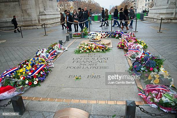 Tomb of the Unknown Soldier beneath the Arc de Triomphe in Paris, France