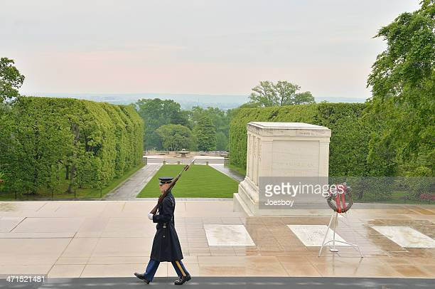 tomb of the unknowns sentinel - tomb of the unknown soldier arlington stock photos and pictures