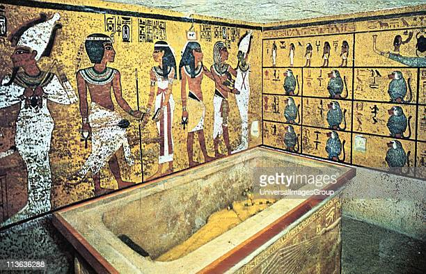 Tomb of Tutankhamun : Sarcophagus containing gold coffin of the king which held his mummy.. Cairo Museum, Egypt