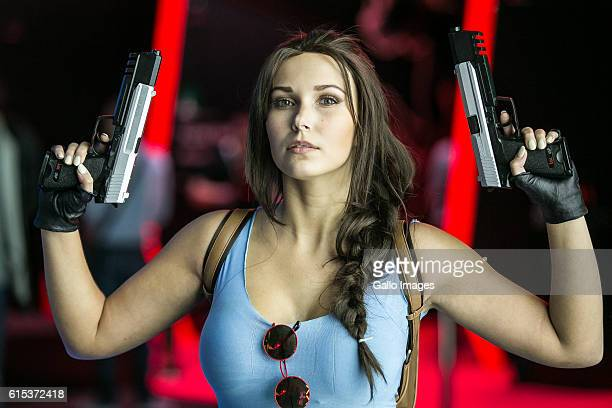 Tomb Raider cosplayer participates in TMobile Warsaw Games Week on October 13 2016 at EXPO XXI Exhibition Hall in Warsaw Poland WGW is a gaming event...