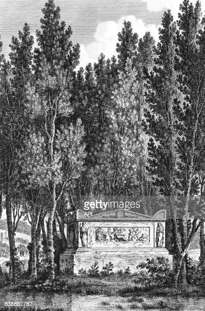 Tombeau de l'écrivain français JeanJacques Rousseau à Ermenonville dans l'Aisne en France