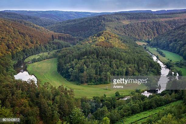 Tombeau du Geant hill inside a meander of the river Semois at Botassart in the Belgian Ardennes Belgium