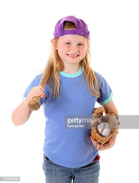 ragazza con cose da baseball maschile - 6 7 anni foto e immagini stock