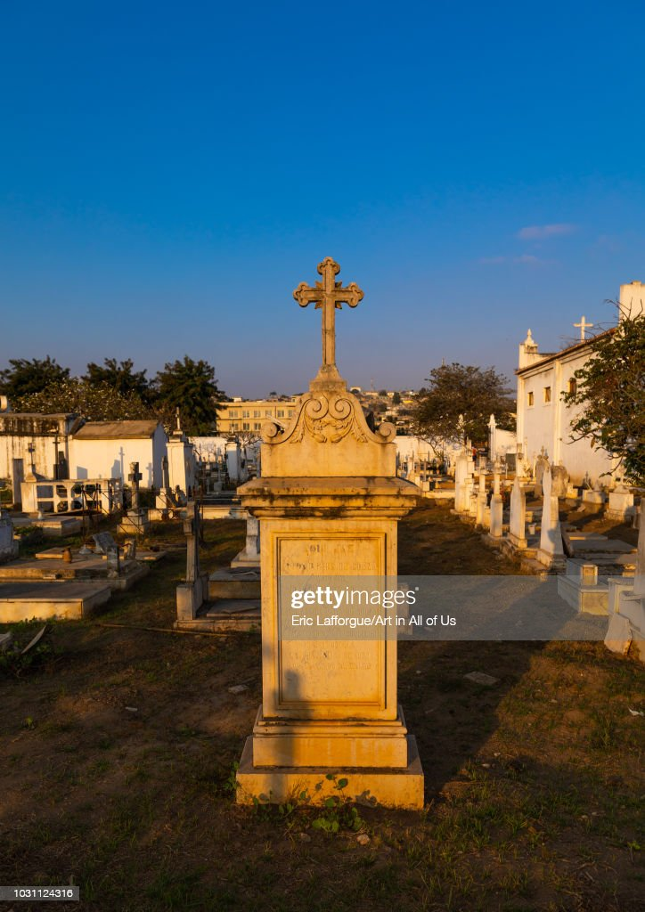 Tombs in a cemetery, Benguela Province, Catumbela, Angola on July 8