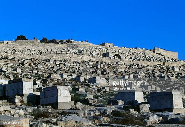 Tombs in the Jewish cemetery on the slopes of the Mount of Olives Jerusalem Israel