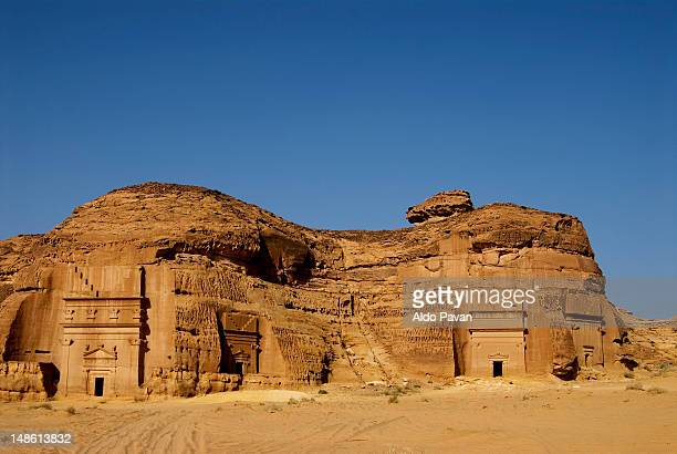 tombs of ancient nabatean town, al khurimat area. - al madinah stock photos and pictures