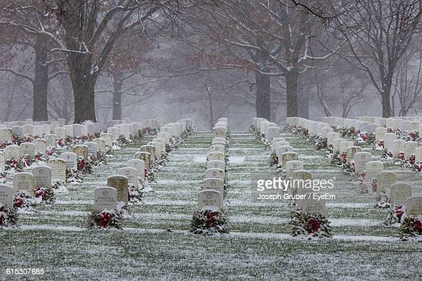 Tombstone At Arlington National Cemetery During Winter