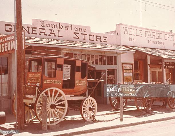 Tombstone General Store with replica Wells Fargo stagecoach parked in front Tombstone Arizona 1966