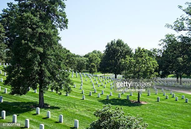 tombstones at arlington national cemetery - größere sehenswürdigkeit stock-fotos und bilder
