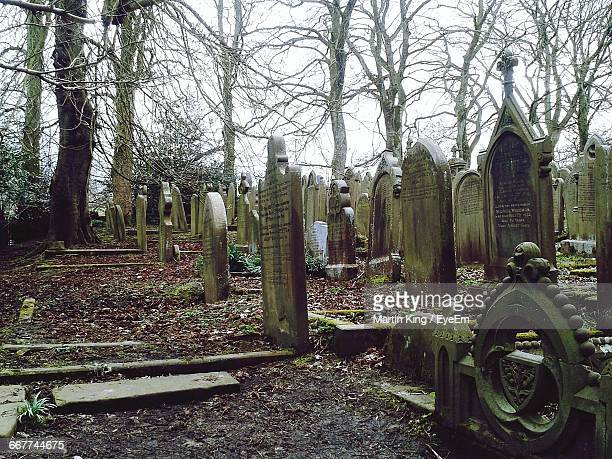 tombstones at old cemetery - cemetery stock pictures, royalty-free photos & images